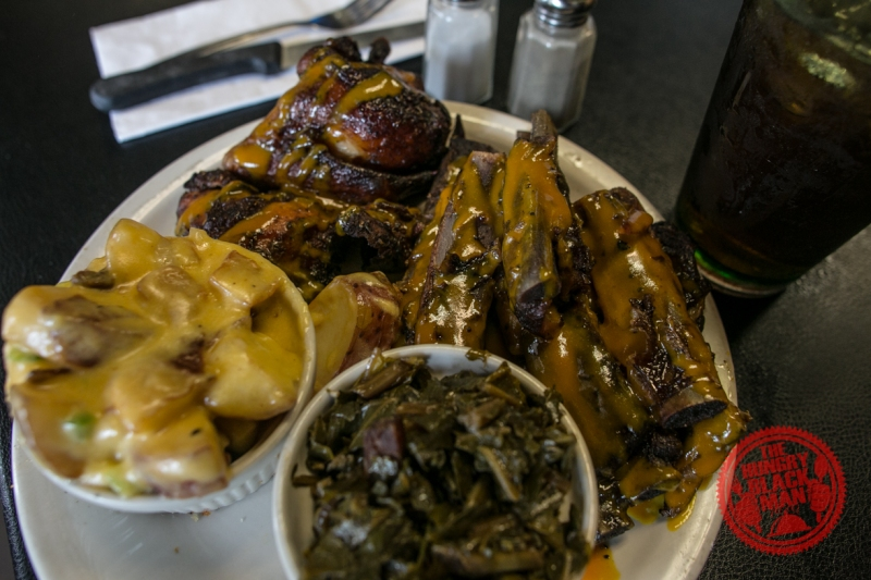 Chef Eddie's BBQ Platter Potatoes and Collards