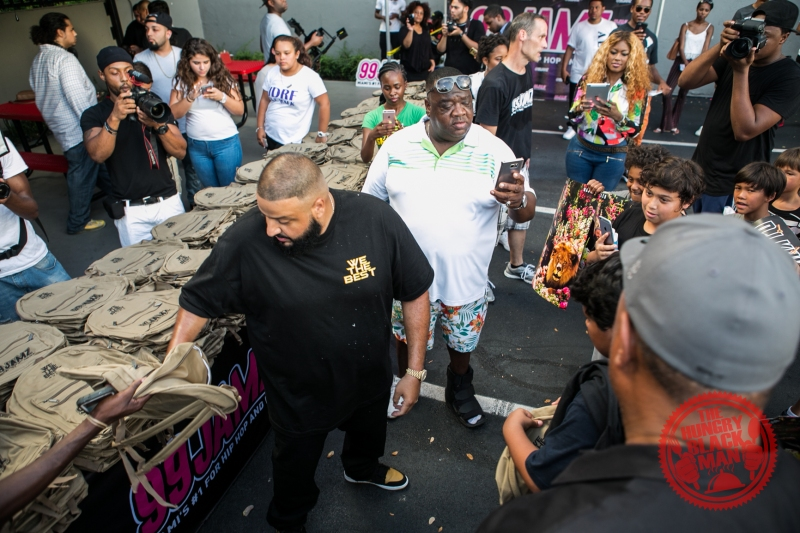 DJ khaled Giving out bookbags