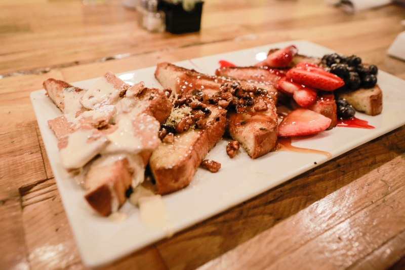 french toast batter and berries
