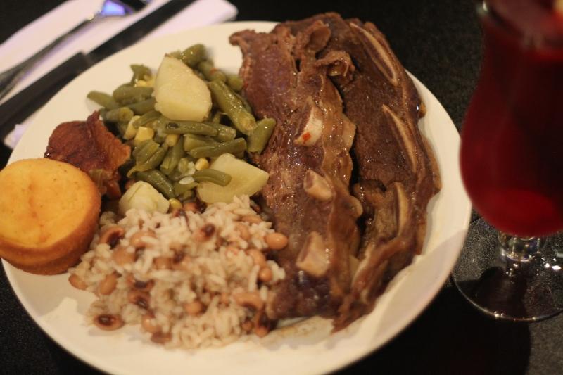 black eye peas, rib, cornbread